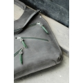Oversize grey handmade natural leather tote bag made by Ladybuq Art