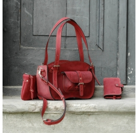Leather bag beautiful Kuferek from Ultimate Edition MINI version in raspberry in set with Clutch and Wallet made by Ladybuq