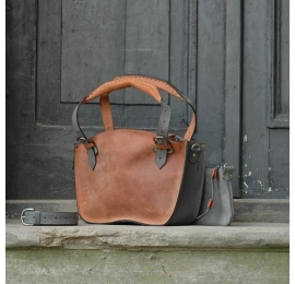 Original leather bag Kuferek bag with a strap and a clutch, ginger and grey made by Ladybuq Art