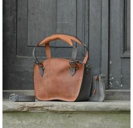 Oryginalna skórzana torba Kuferek z paskiem i kopertówką rudo szary od Ladybuq Art