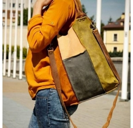 Colourful leather bag with long detachable strap made by polish designers
