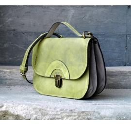 Skórzana torba na wycieczkę Pati rozmiar L Limonkowa od Ladybuq Art