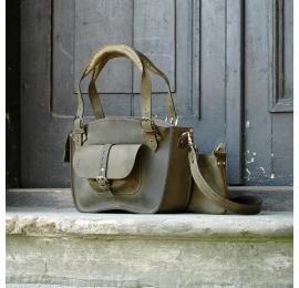 Kuferek ręcznie robiony z kieszonką paskiem i kopertówką Khaki