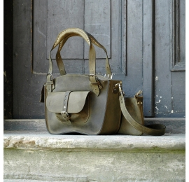 Tote bag with a pocket, a strap and a clutch Khaki