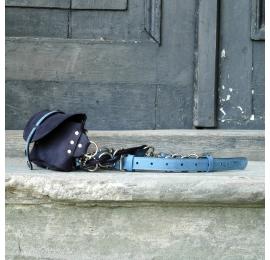 Fanny pack / cross body leather bag Navy Blue, Blue Size M