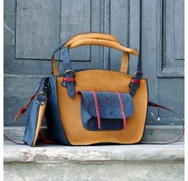Kuferek ręcznie wykonana torebka z kieszonką  paskiem i kopertówką Whiskey, Granat, Malina