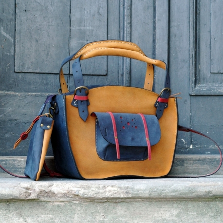 Unique tote bag for every occasion with a pocket, a strap and a clutch handmade from high quality natural leather