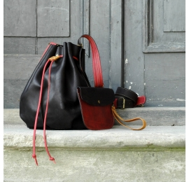 Leather rucksack with long crossbody strap and sachet for small items another beautiful Ladybuq Art creation