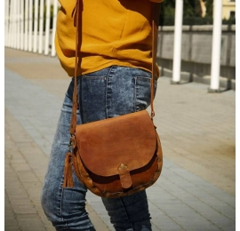 Small Mariola bag in ginger colour, stylish leather bag made by Ladybuq Art