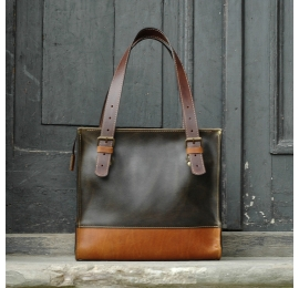 Squer handmade natural high quality leather bag with a zipper Khaki & Whiskey made by Ladybuq Art