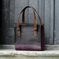 handmade natural leather tote bag purse laptop bag unique plum and black colour made by ladybuq art