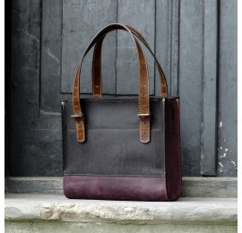 Squer natural leather handmade bag with a zipper Black and Plum made by Ladybuq Art