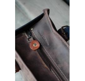 Squer z zamkiem unikalna ręcznie robiona skórzana torba od Ladybuq Art  Brąz/Rudy