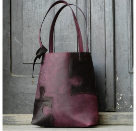 Bag made out of natural leather Zuza Puzzle in Plum and Black colours original Ladybuq Art tote bag