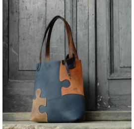 Leather personalizable bag Zuza Puzzle - Navy Blue, Ginger, Brown with a key chain