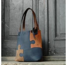 Skórzana personalizowana torba Zuza Puzzle - Granat, Rudy, Brąz w zestawie ze smyczą do kluczy w kolorze torby