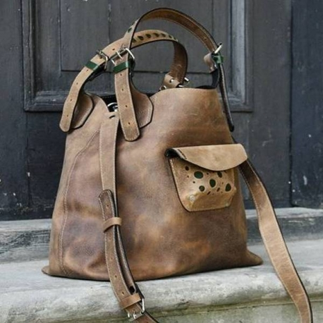 Leather handmade handbag with long detachable strap, light brown with green additives