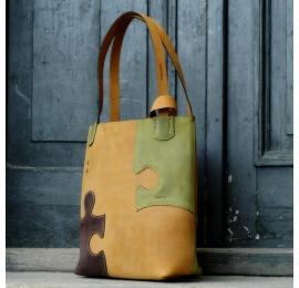 Wyjątkowa torba skórzana Zuza z kolekcji Puzzle - Whiskey, Limonka, Brąz torba na lato, uniwersalna duża torebka
