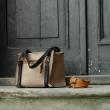 Lili in beautiful beige colour handmade leather tote bag unique design
