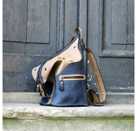 Backpack or Bag made by Ladybuq Art in Navy Blue and Beige colours