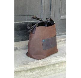 Leather handmade Bag Alicja with one strap dark brown/graphite