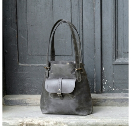 Perfect bag Alicja made out of high quality natural leather grey colour