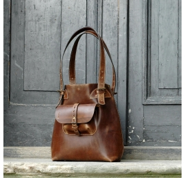 Leather bag Alicja 2 color Brown.