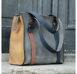 Natural leather handmade shopper bag Big Lili made by polish designers