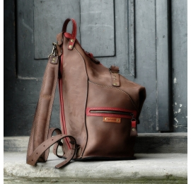 Leather backpack and Bag made by Ladybuq Art in Brown colour with Raspberry accents