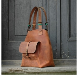 Leather bag Alicja XXL ginger color.