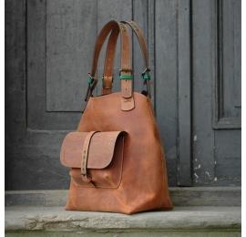 Torebka skórzana Alicja XXL kolor rudy torba od Ladybuq Art Studio z serii Ultimate Edition