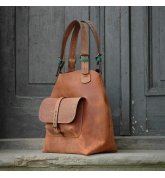 Leather bag Alicja XXL ginger colour Ultimate Edition series bag unique handmade natural leather ladybuq bag