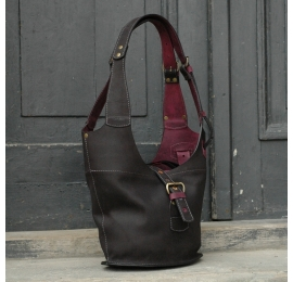 Leather bag Ladybuq with long straps and zipper, smaller version, black and claret size S