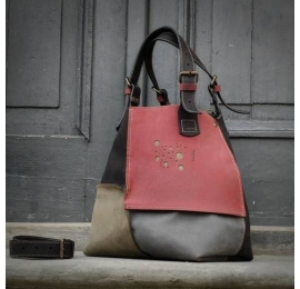 Handmade Alicja tote bag 4 colours raspberry, grey, khaki, black