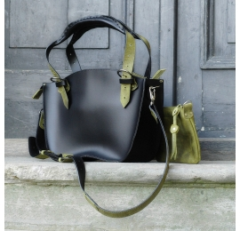 Leather bag Kuferek SMALLER SIZE with a strap and a clutch, black and lime made by Ladybuq Art