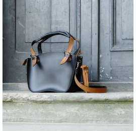 Bag in black colour with accents in Whiskey colour with fittings in silver colour made by Ladybuq Art