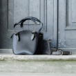 Black bag with grey accents in set with strap and detachable clutch made by Ladybuq