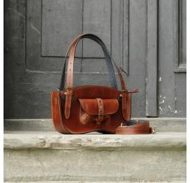 Skórzana torebka Kuferek Ultimate Edition wersja MINI kolor koniakowy brąz od Ladybuq