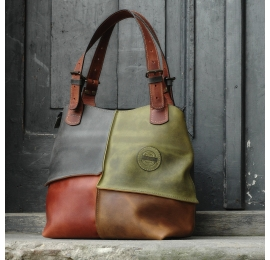 leather oversized bag ALICJA -WITH LINING