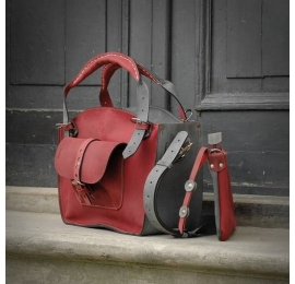Small handmade tote bag with a pocket, a strap and a clutch raspberry and grey