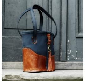 JULIA SMALLER SIZE Navy Blue/Cognac unique shoulder bag made by Ladybuq Art Studio