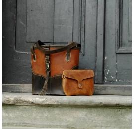 Julia MNIEJSZY ROZMIAR kolor Ciemny Whiskey/ Ciemny Khaki unikalna torba od Ladybuq Art Studio