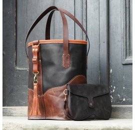 Black and Brown colored leather bag Julia made by hand by Ladybuq Art