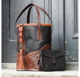 Czarno Brązowa skórzana torebka Julia wykonana ręcznie przez Ladybuq Art