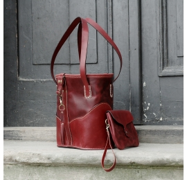 Julia bag in Raspberry color with internal detachable clutch made by Ladybuq Art