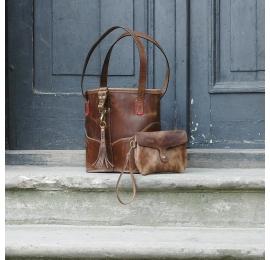 Julia MNIEJSZY ROZMIAR w kolorze Brązowym unikalna torebka wykonana ręcznie z naturalnej skóry od Ladybuq Art Studio