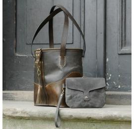 Piękna oryginalna torebka w kolorze Szarym i Khaki ręcznie wykonana torebka w trzech rozmiarach