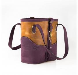 Sac en cuir de style vintage aux couleurs Prune et Whisky réalisé par Ladybuq Art