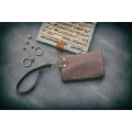 leather wallet Mexico in brown color made by hand by ladybuq art