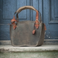 Natural leather handmade tote bag with a clutch khaki and orange